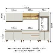 Cozinha Completa Reims com Armário e Balcão Branco 0109 - Madesa