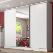 Guarda-Roupa Casal Royale 3 Portas de Correr com Espelho Branco - Madesa