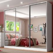 Guarda-Roupa Casal Royale 3 Portas de Correr de Espelho Branco - Madesa