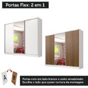 Guarda-Roupa Casal Royale 3 Portas de Correr com Espelho Branco Rustic - Madesa