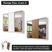 Guarda-Roupa Casal Zurique 3 Portas de Correr com Espelhos Branco Rustic - Madesa