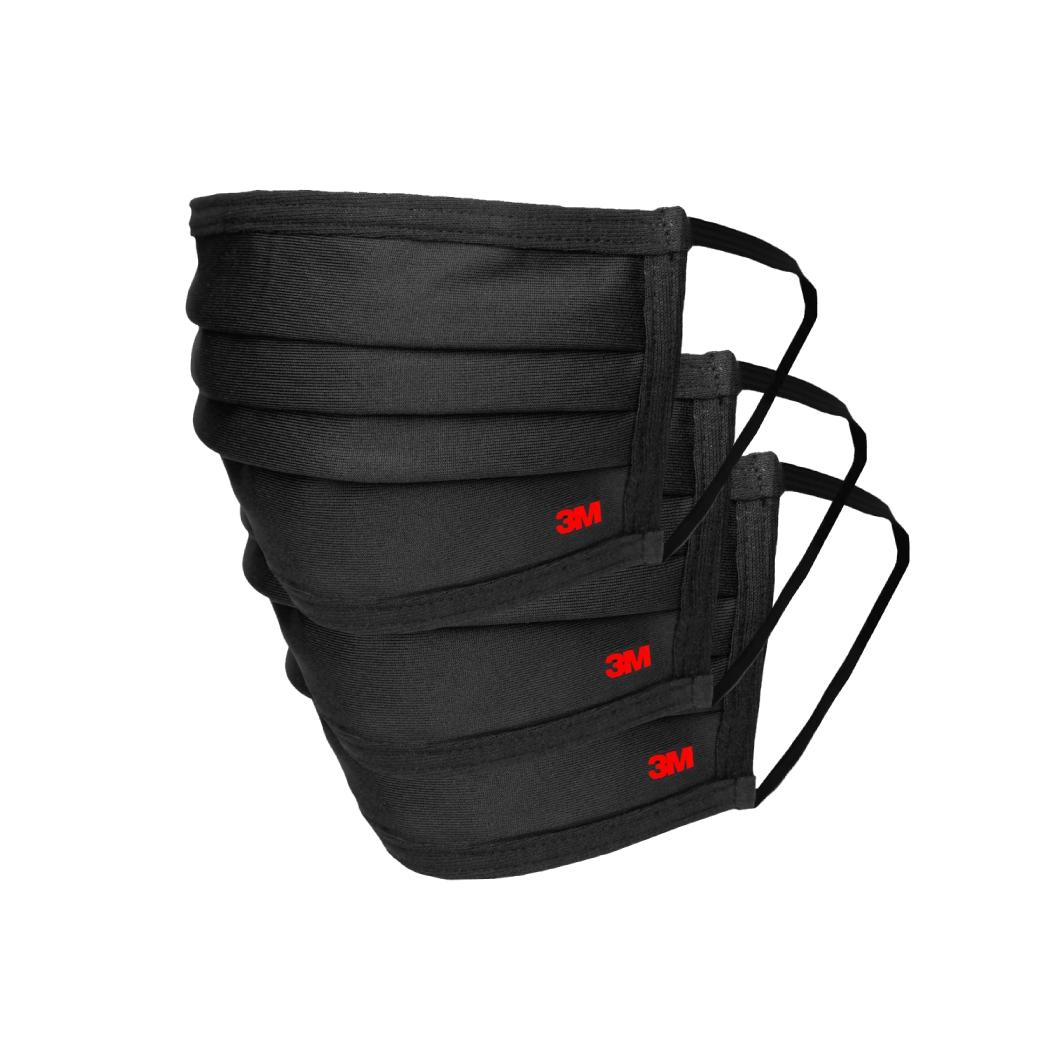 Kit Mascaras 3M Compre 2 Leve 3 de Tecido Reutilizavel para Uso Diario Tamanho Unico Preta