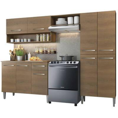 Cozinha Compacta Emilly Pop com Armario e Balcao Rustic - Madesa