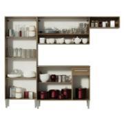 Cozinha Compacta Emilly Top com Armário e Balcão Rustic Branco - Madesa