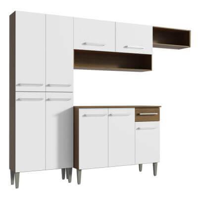 Cozinha Compacta Emilly Top com Armario e Balcao Rustic Branco - Madesa