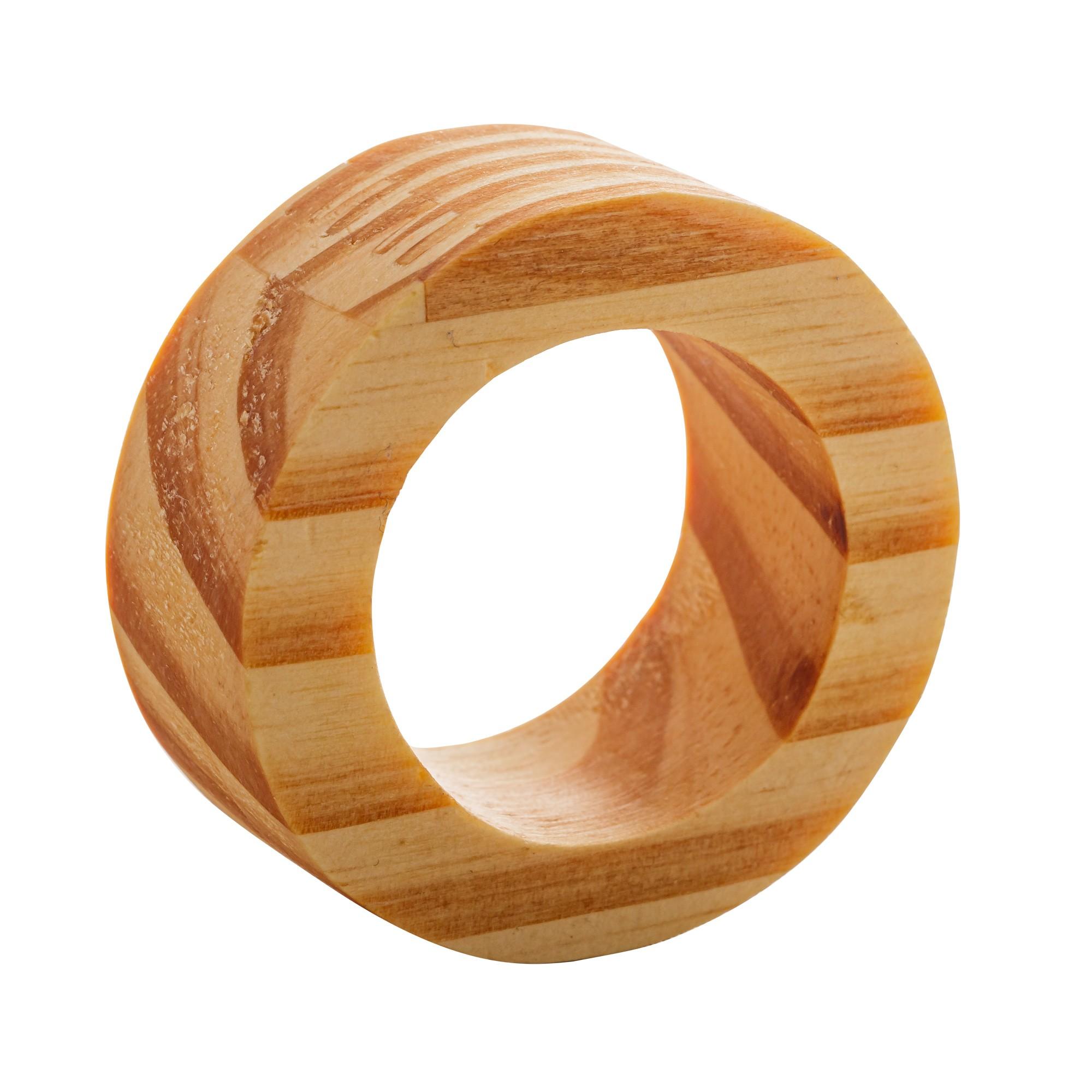 Jogo de Argolas de Madeira Pinus para Guardanapo 4 Unidades - Rojemac