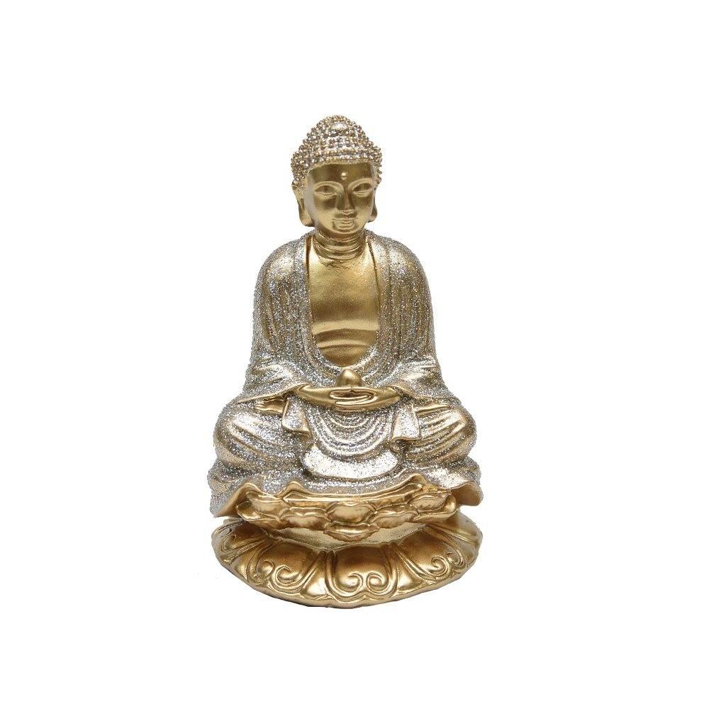 Enfeite Buda 10cm de Resina Dourado - Bras Continental