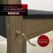 Conjunto Sala de Jantar Aline Mesa com Tampo de Vidro e 6 Cadeiras Rustic Preto - Madesa