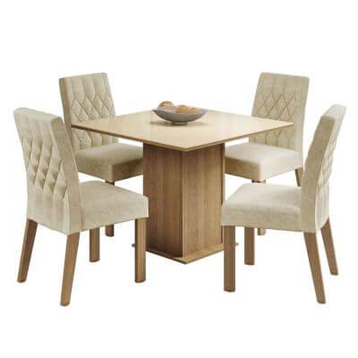 Conjunto Sala de Jantar Brenda Mesa com Tampo de Vidro com 4 Cadeiras Rustic - Madesa