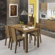 Conjunto Sala de Jantar Rosie Mesa com Tampo de Madeira com 4 Cadeiras Floral - Madesa