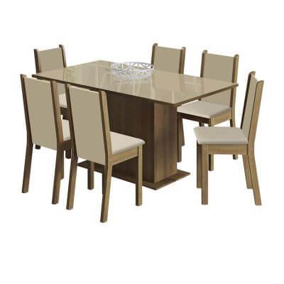 Conjunto Sala de Jantar Moscou Plus Mesa com Tampo de Vidro com 6 Cadeiras Rustic Perola - Madesa