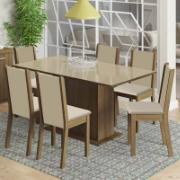 Conjunto Sala de Jantar Moscou Plus Mesa com Tampo de Vidro com 6 Cadeiras Rustic Pérola - Madesa