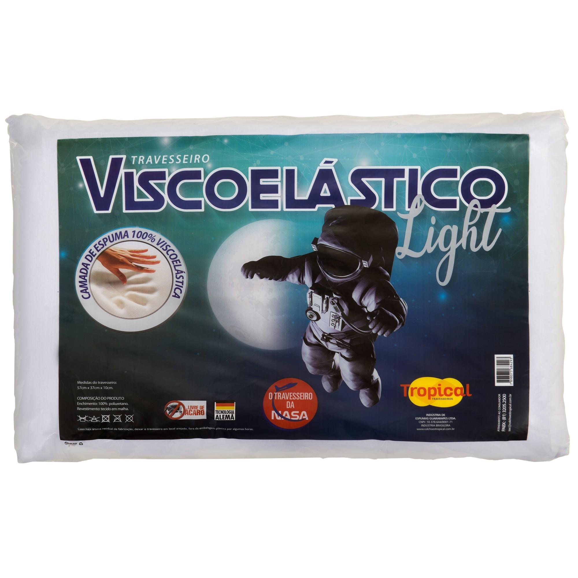 Travesseiro Visco Elastico Light Branco 57x37cm - Colchoes Tropical