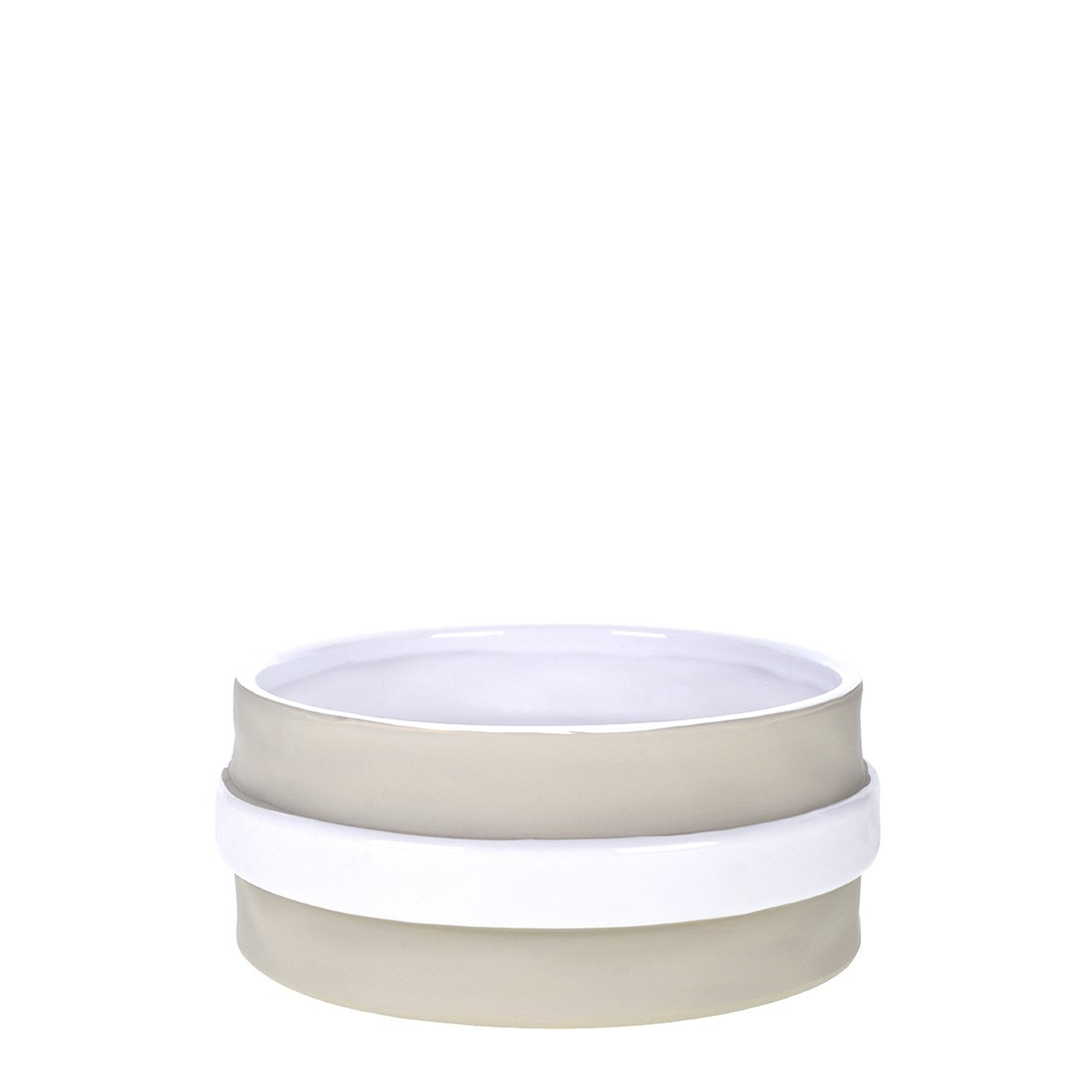 Vaso Decorativo de Ceramica Redondo 17cm Stone Branco