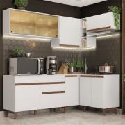 Cozinha Completa de Canto 332cm Reims com Armário e Balcão Branco - Madesa