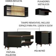 Cozinha Completa Reims 190cm com Armário e Balcão Preto - Madesa