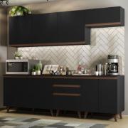 Cozinha Completa Reims 250cm com Armário e Balcão Preto - Madesa