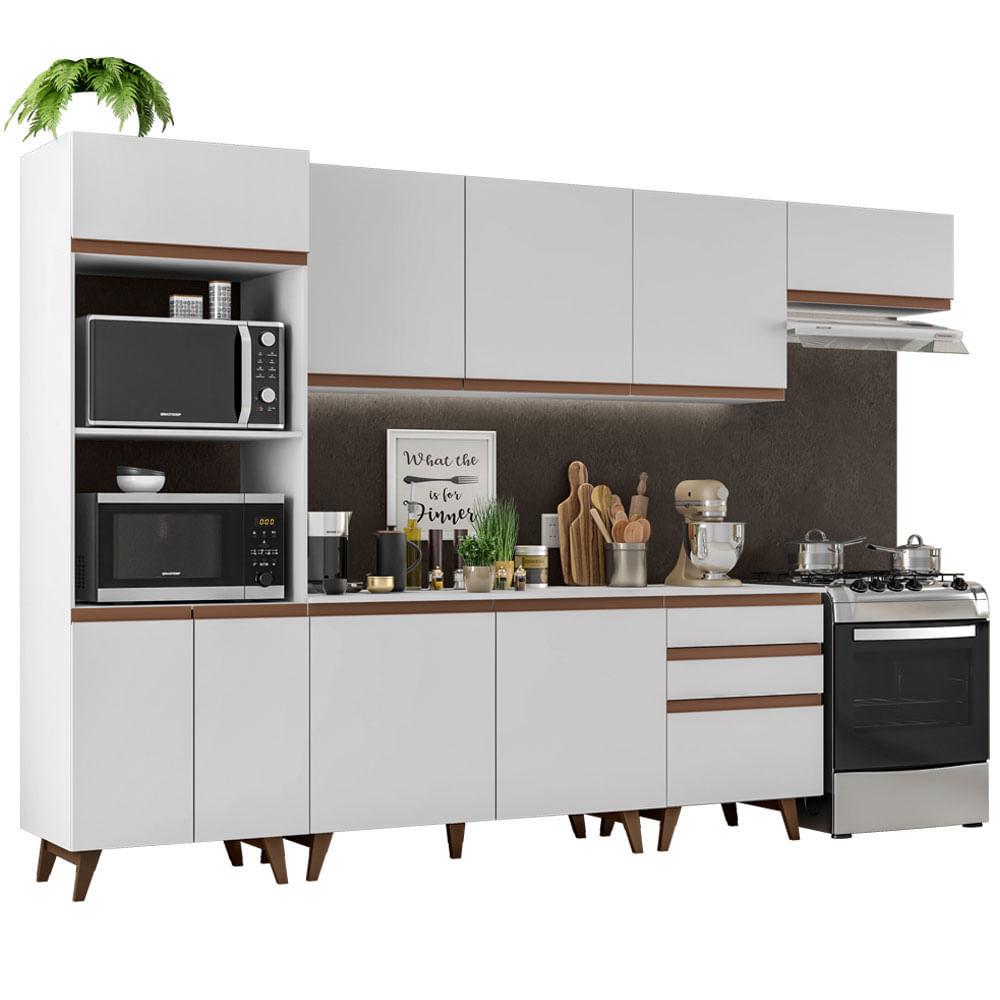 Cozinha Completa Reims 320cm com Armario e Balcao Branco - Madesa