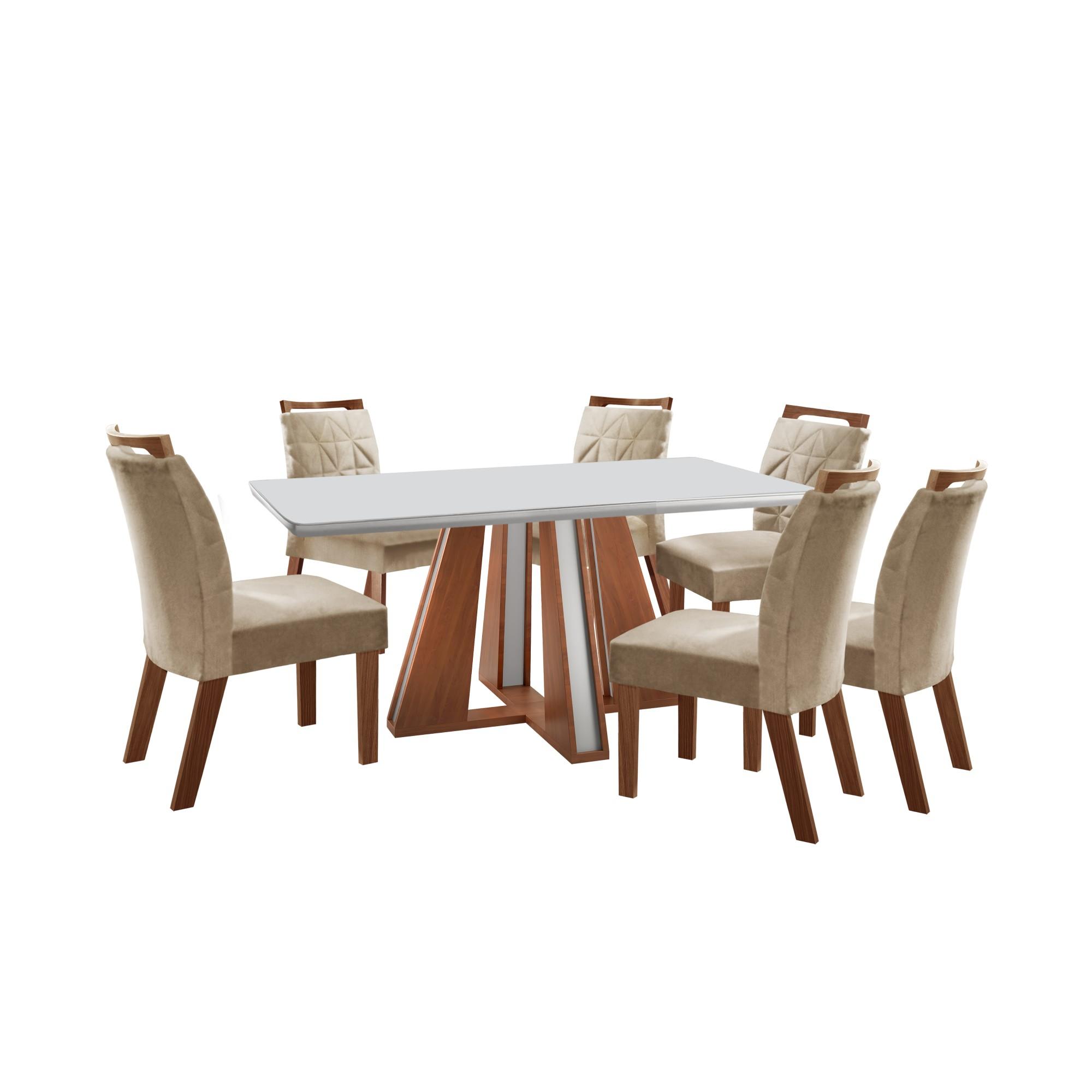 Conjunto de Mesa Rubi com 6 Cadeiras Castanho e Off White - Lj Moveis