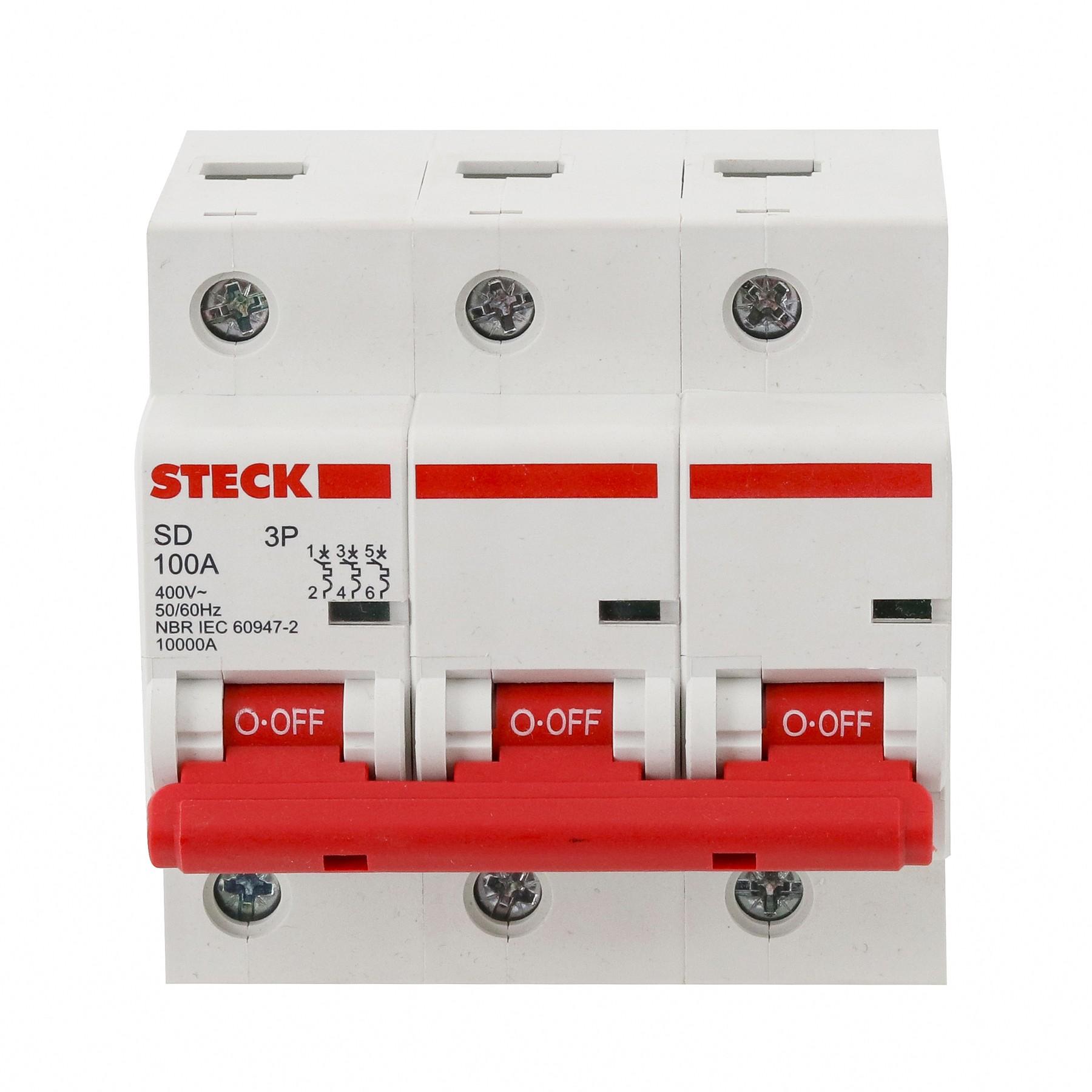Disjuntor DIN Tripolar 230400V 100A Tipo C SDD3C100 - Steck