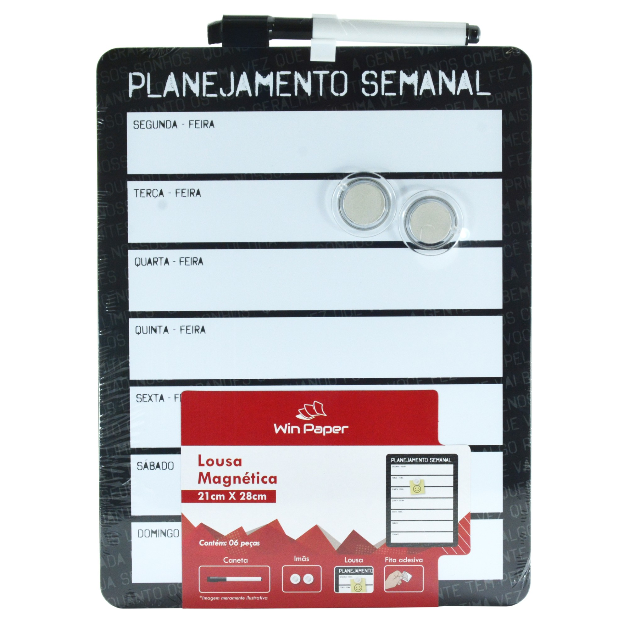 Quadro Lousa Magnetico Vertical Planejamento Semanal 22x29cm - Rio de Ouro