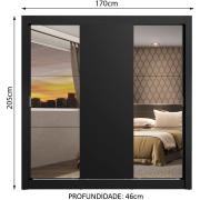 Guarda-Roupa Casal Mônaco 3 Portas de Correr com Espelhos Preto - Madesa