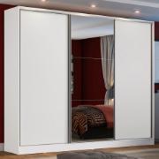 Guarda-Roupa Casal MDF Zurique 3 Portas de Correr com Espelho Branco - Madesa