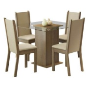 Conjunto Sala de Jantar Aline Mesa Tampo de Vidro com 4 Cadeiras Rustic - Madesa