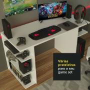 Mesa Gamer de MDP com Prateleiras 75x136cm Branca - Madesa