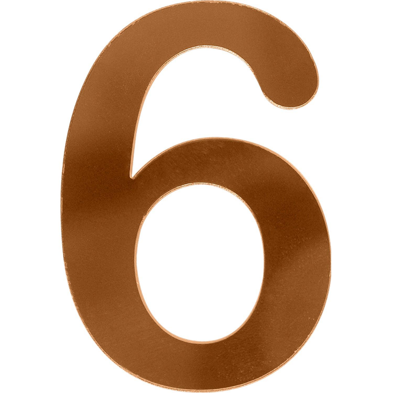 Numero 6 em Acrilico Espelhado Bronze - Acrilico Design