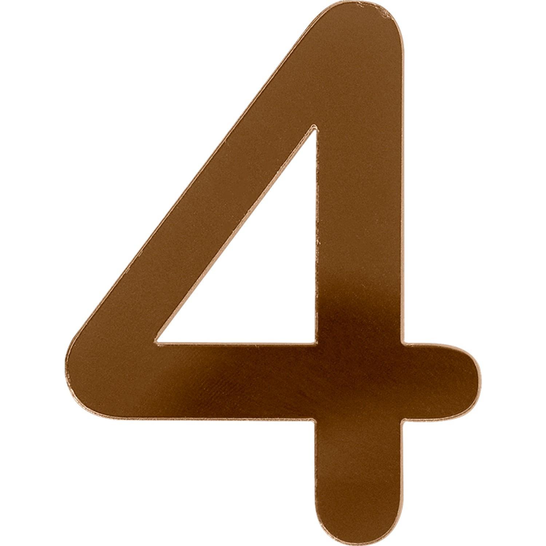 Numero 4 em Acrilico Espelhado Bronze - Acrilico Design