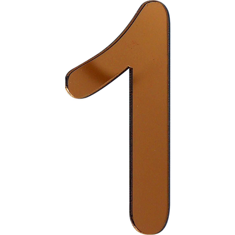 Numero 1 em Acrilico Espelhado Bronze - Acrilico Design