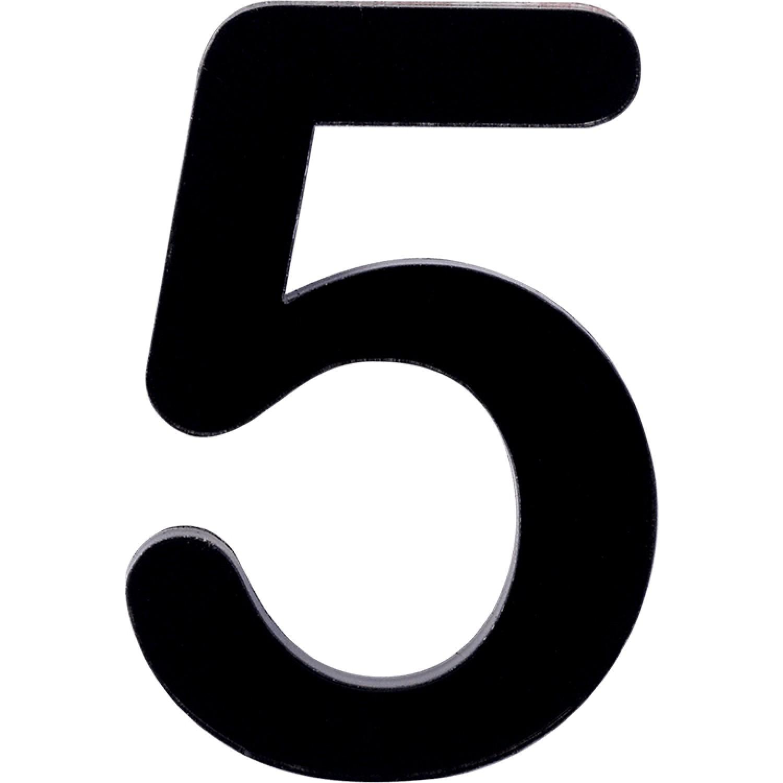 Numero 5 em Acrilico Espelhado Preto - Acrilico Design