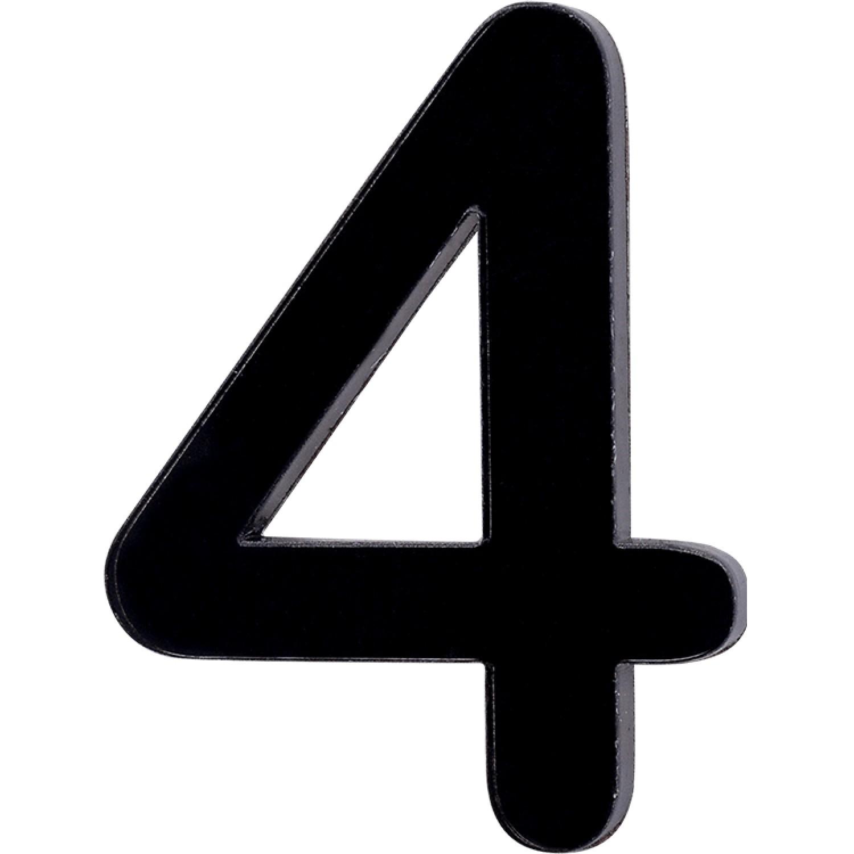 Numero 4 em Acrilico Espelhado Preto - Acrilico Design