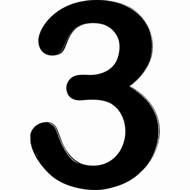 Numero 3 em Acrilico Espelhado Preto - Acrilico Design