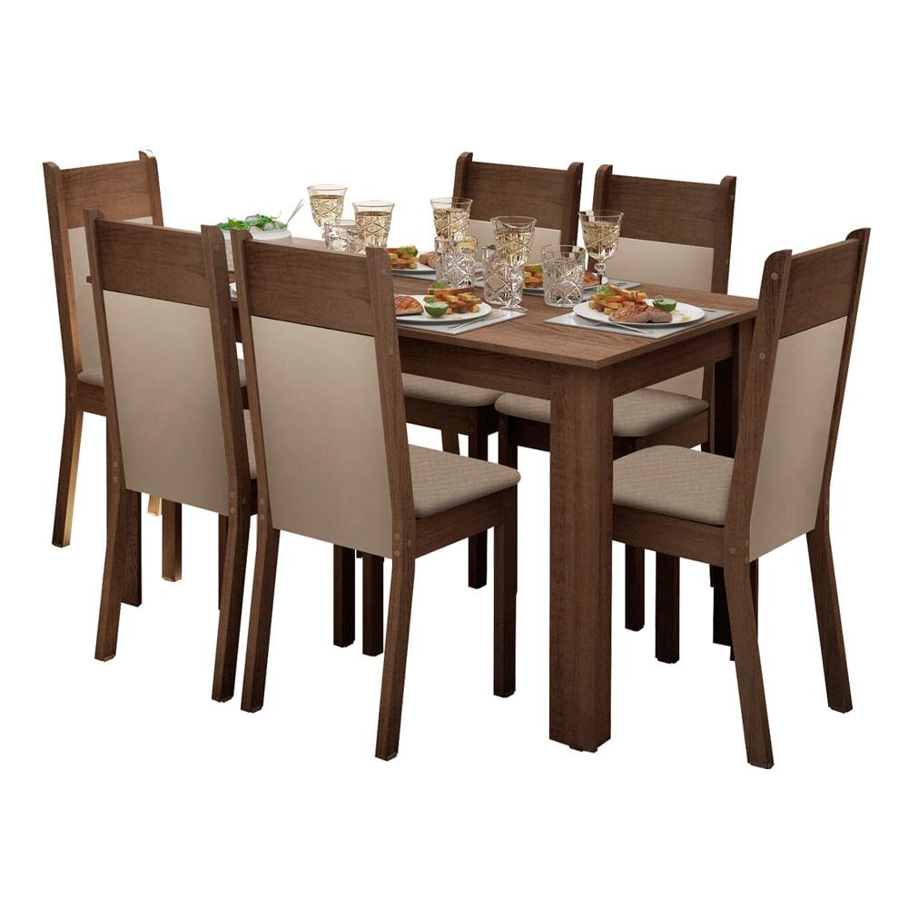 Conjunto Sala de Jantar Jaine Mesa com Tampo de Madeira 6 Cadeiras - Madesa