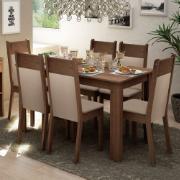 Conjunto Sala de Jantar Jaíne Mesa com Tampo de Madeira 6 Cadeiras - Madesa