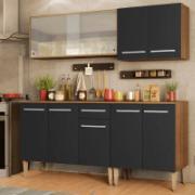 Cozinha Completa Madesa Emilly Box com Balcão e Armário Vidro Rustic/Preto