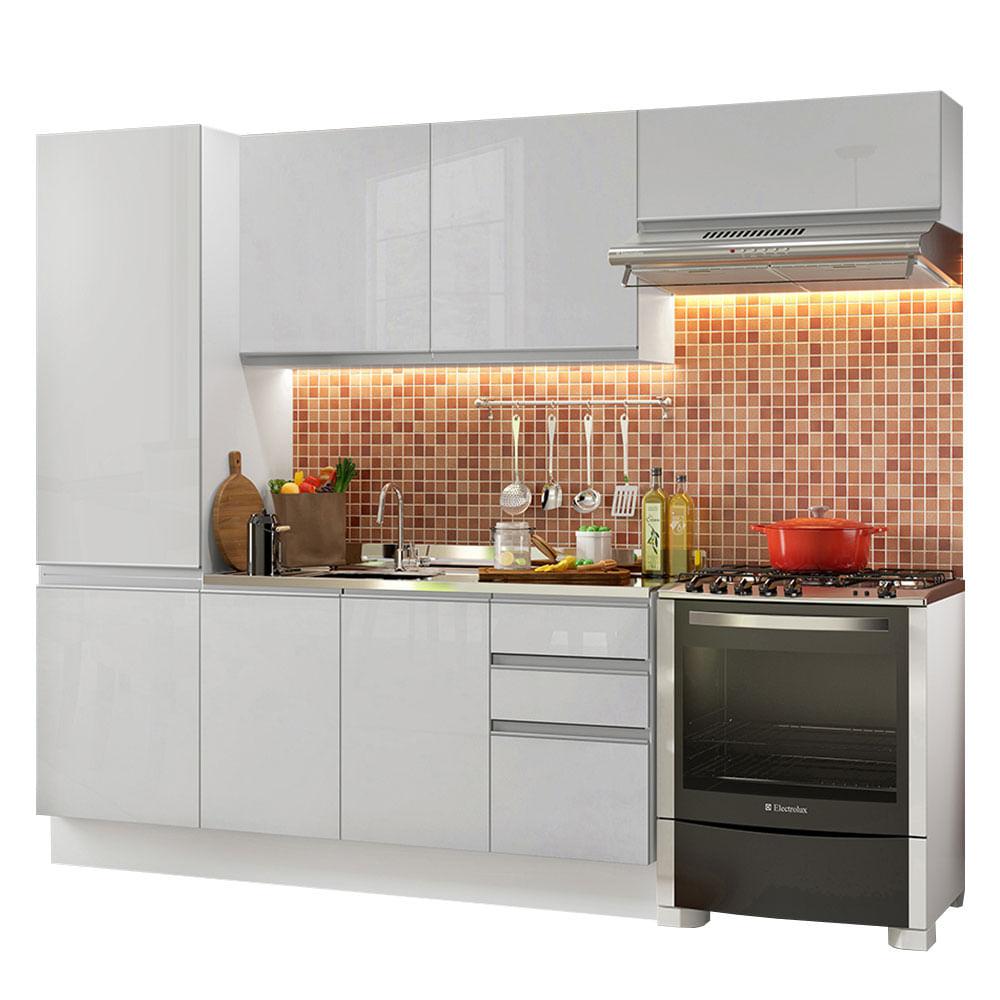 Cozinha Compacta Madesa 100 MDF Acordes Com Armario e Balcao Portas Branco Brilho