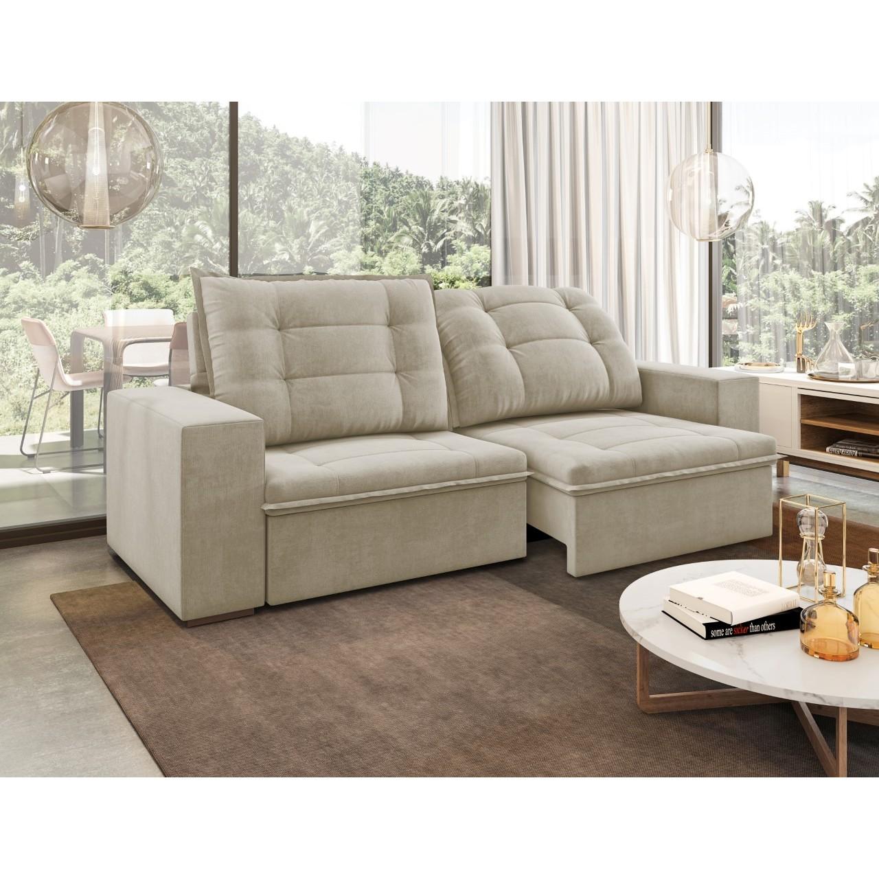 Sofa Ariel 2 Lugares Retratil Reclinavel Veludo 101X98X54 - Spazzio