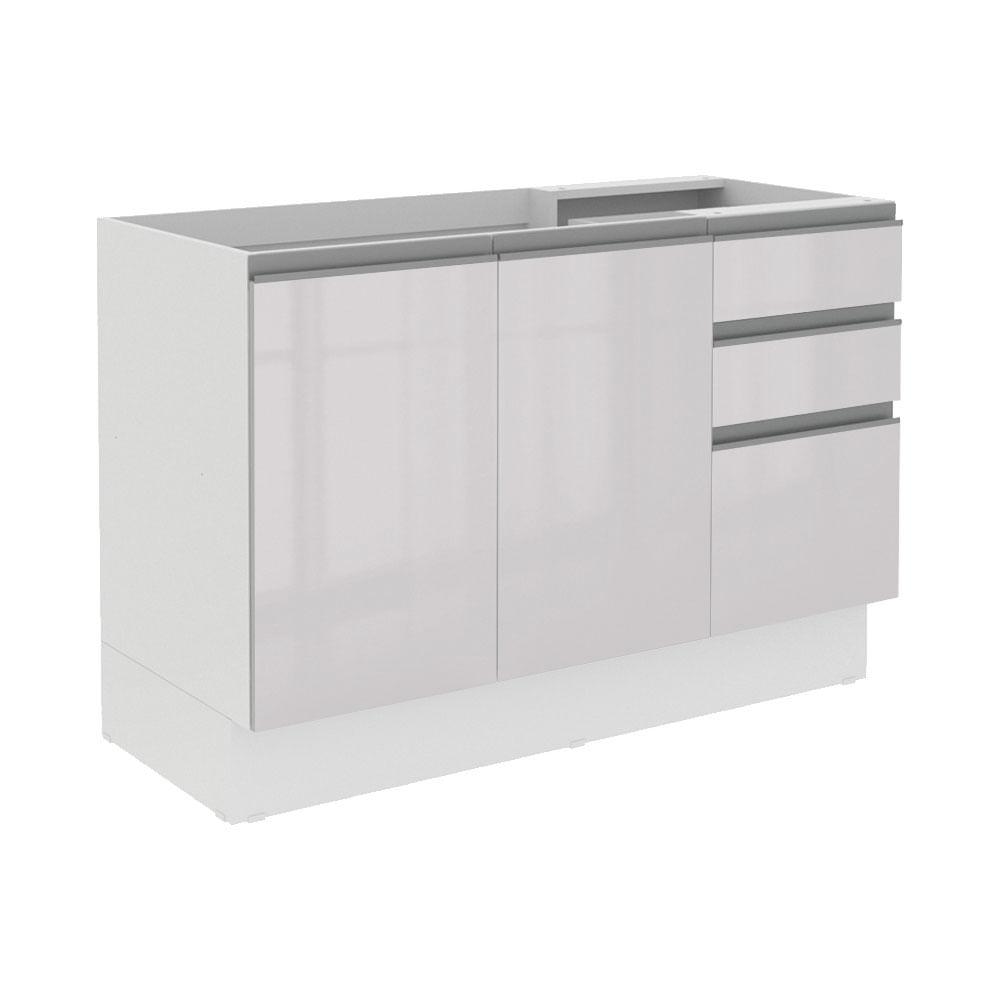 Balcao Gabinete de Pia Acordes MDF 120cm 3 Portas e 2 Gavetas Branco - Madesa