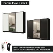 Guarda-Roupa Casal MDF Royale 3 Portas de Correr com Espelho Preto - Madesa