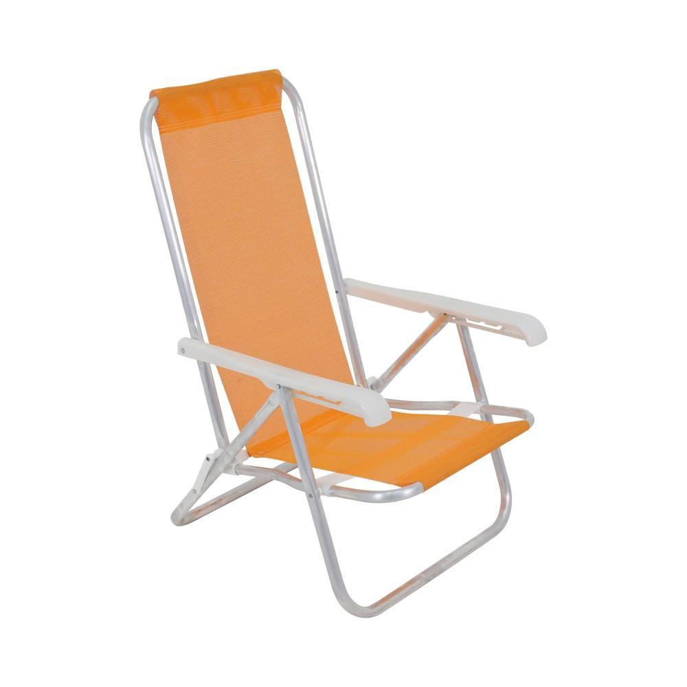 Cadeira de Aluminio Reclinavel 4 Posicoes Lazy Laranja - Bel