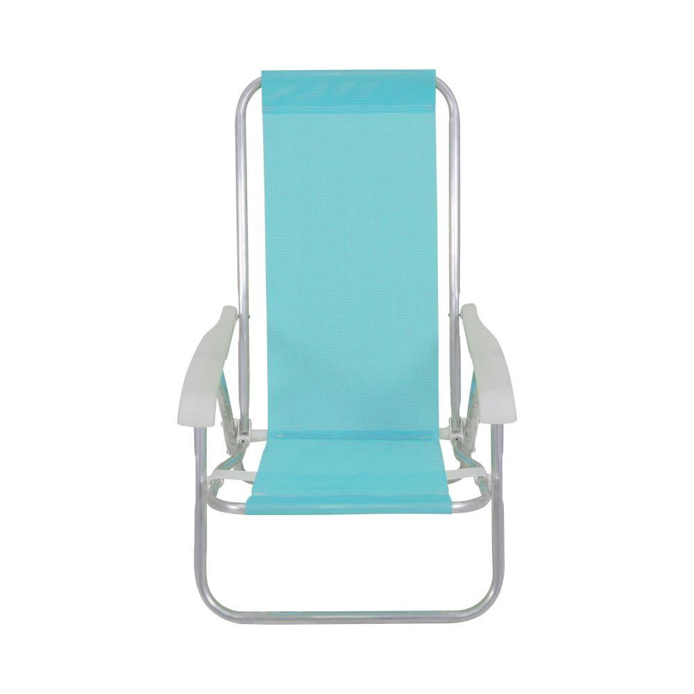Cadeira de Aluminio Reclinavel 4 Posicoes Lazy Turquesa - Bel