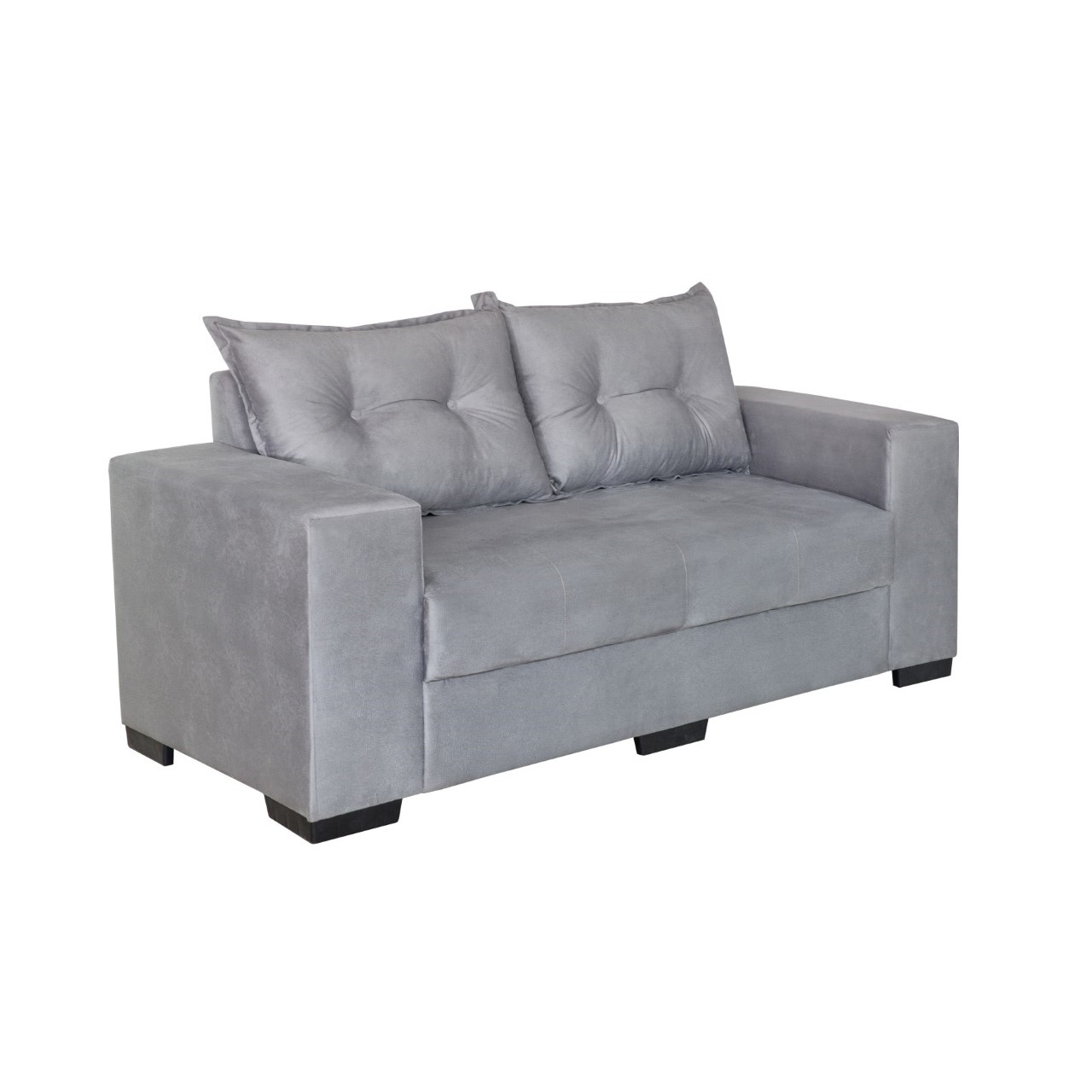 Sofa Belgica 3 Lugares Veludo Cinza - Design Colchoes