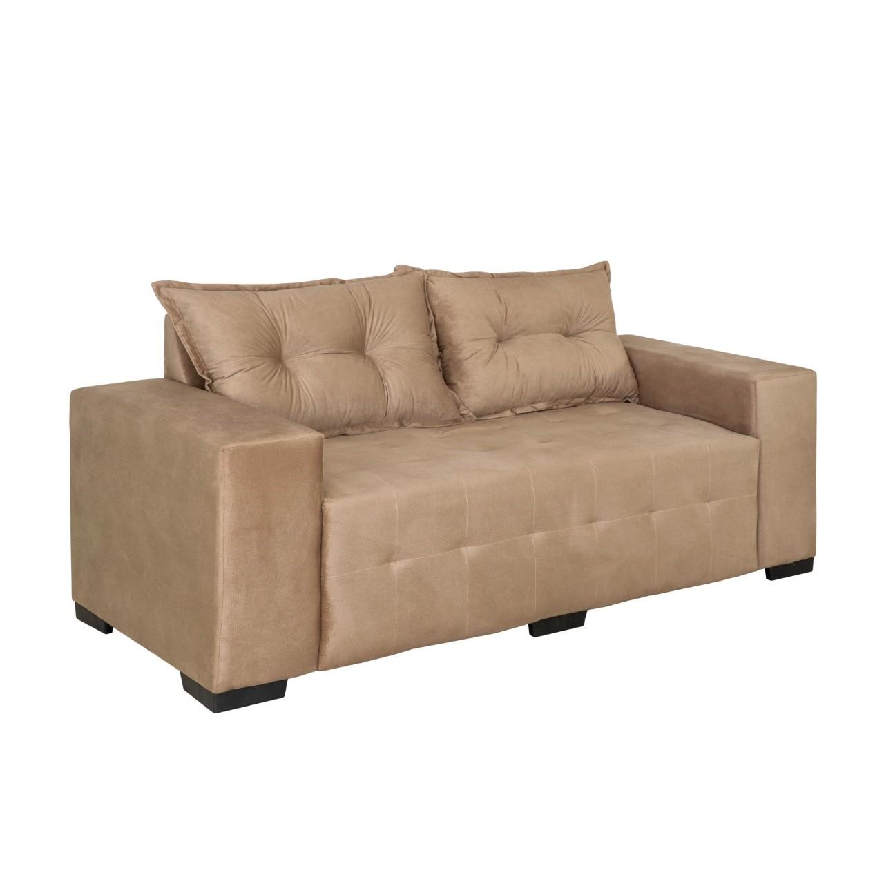 Sofa Cairo 3 Lugares Veludo Bege - Design Colchoes