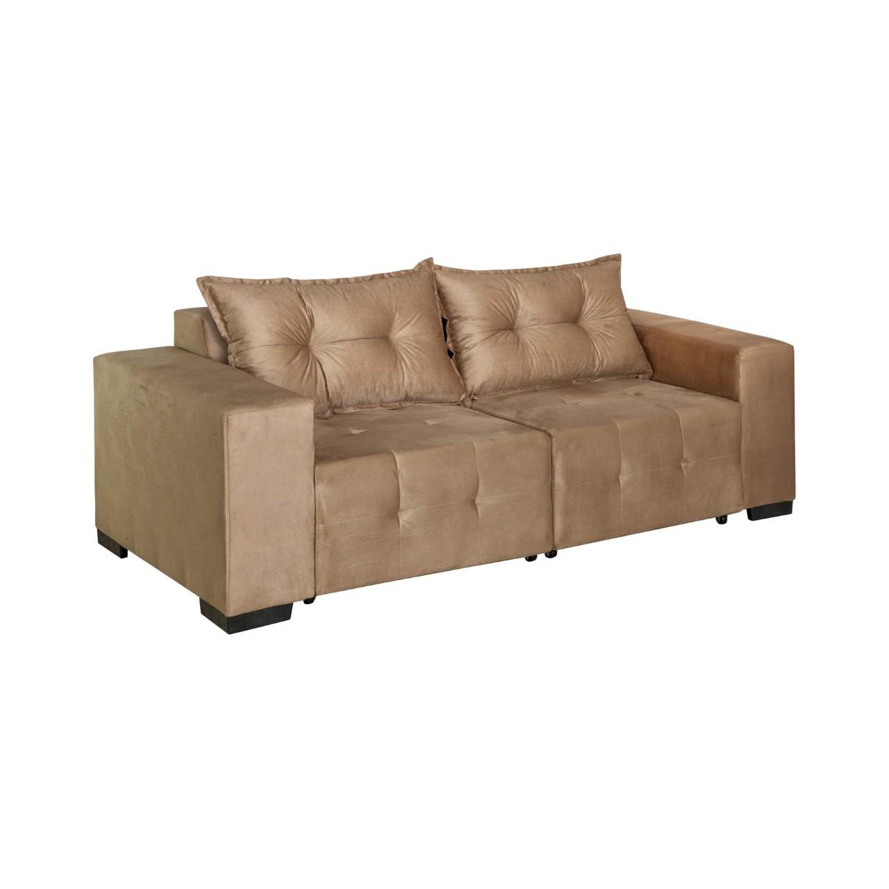 Sofa Bulgaria 3 Lugares Retratil Veludo Bege - Design Colchoes