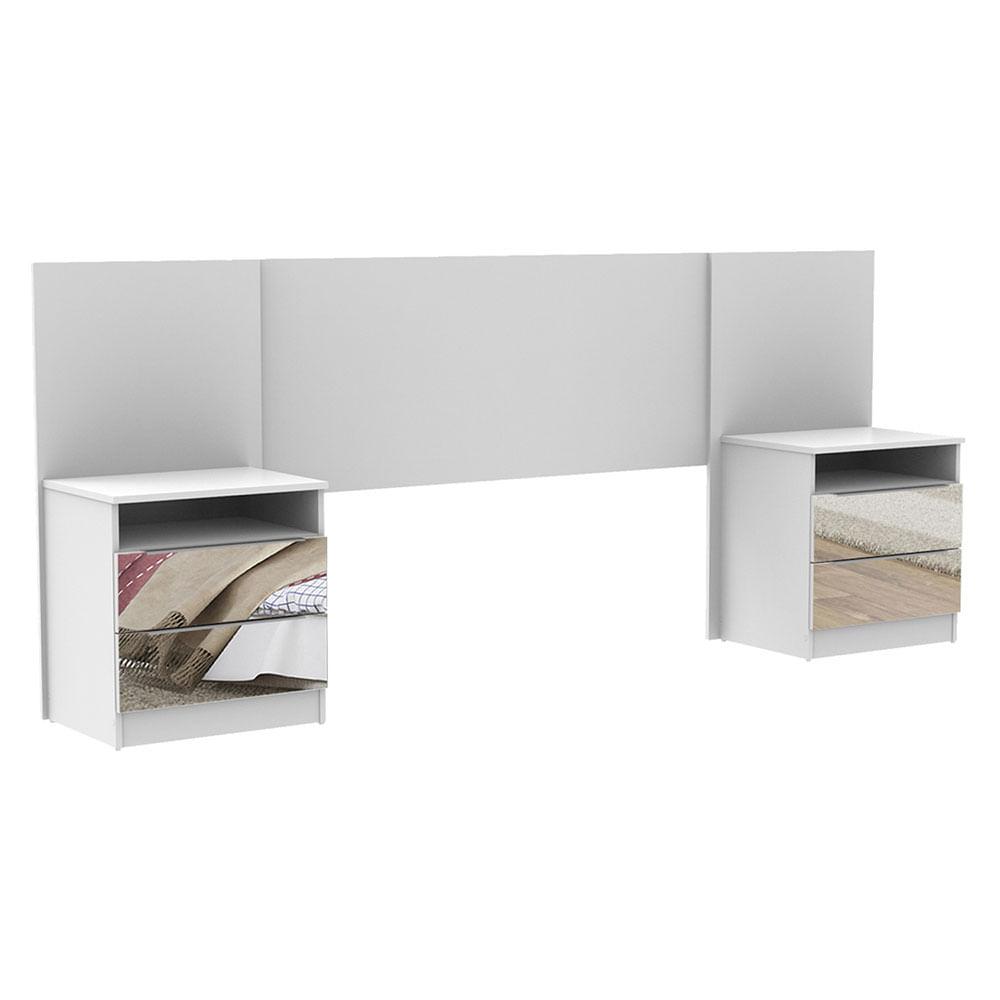 Cabeceira Extensivel Madesa com 2 Mesas de Cabeceira com Espelho Branco