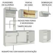 Cozinha Completa Madesa Diamante com Armário, Balcão de Pia e Tampo Branco