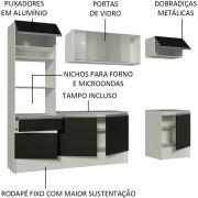 Cozinha Completa Madesa Topazio com Armário, Balcão de Pia e Tampo Branco/Preto